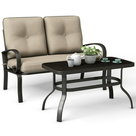 Costway 2 Pcs Patio Outdoor LoveSeat Coffee Table Set Furniture Bench With Cushion ()