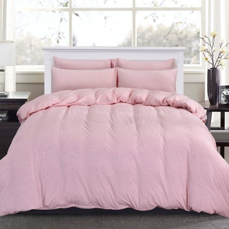PURE ERA Duvet Cover Set - Ultra Soft Heather Jersey Knit Cotton Home Beddings Solid Light Coral King Size, 1 Comforter Cover and 2 Pillow Shams, Model # PE-19LC-K ()