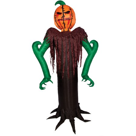 Scary Halloween Blow Ups (7' Tall Inflatable Scary Horror Dark Pumpkin Head Halloween Yard Lawn)