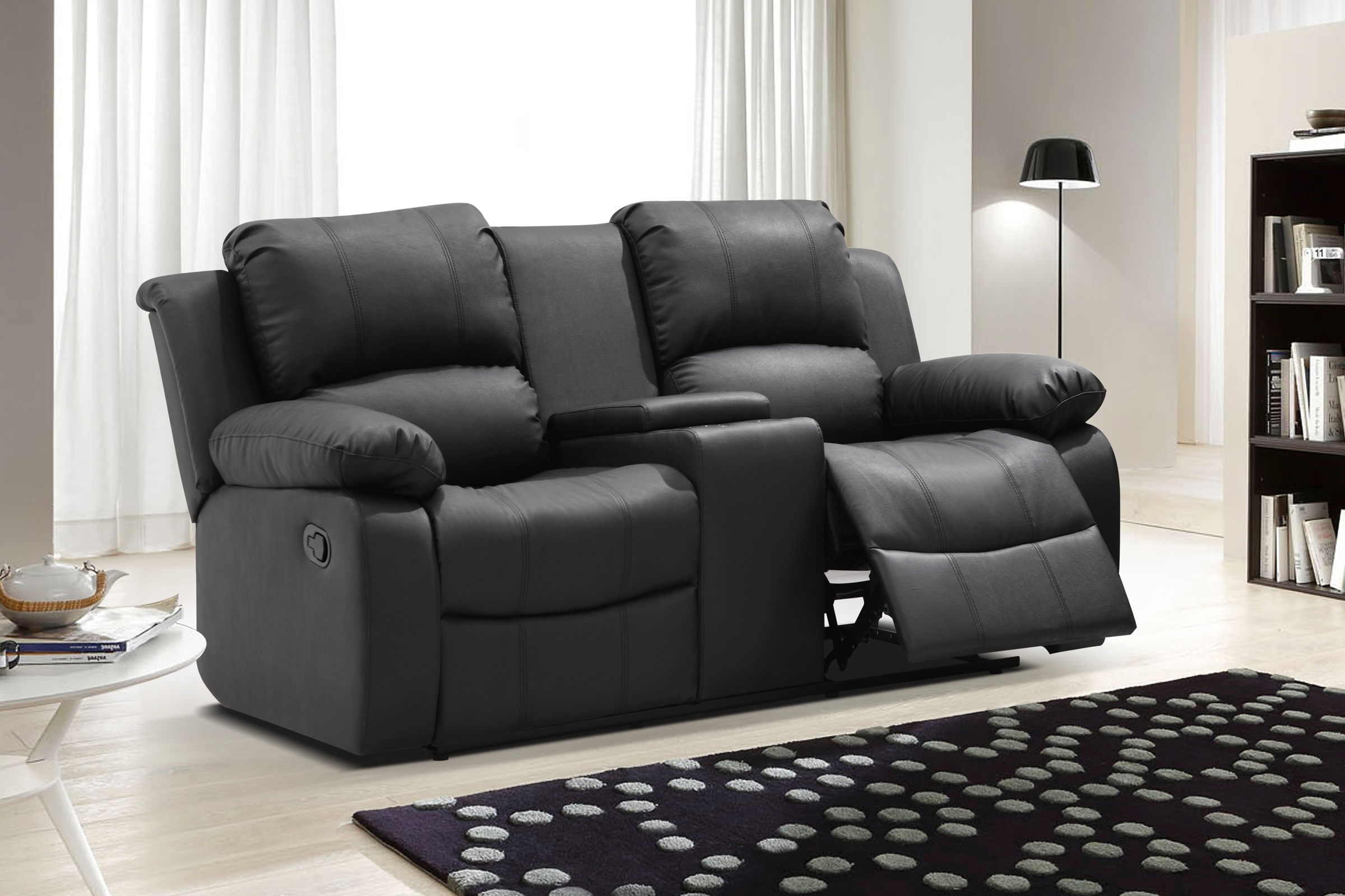 UFE Zoey Bonded Leather Reclining Loveseat with Center Console Black  sc 1 st  Walmart & UFE Zoey Bonded Leather Reclining Loveseat with Center Console ... islam-shia.org