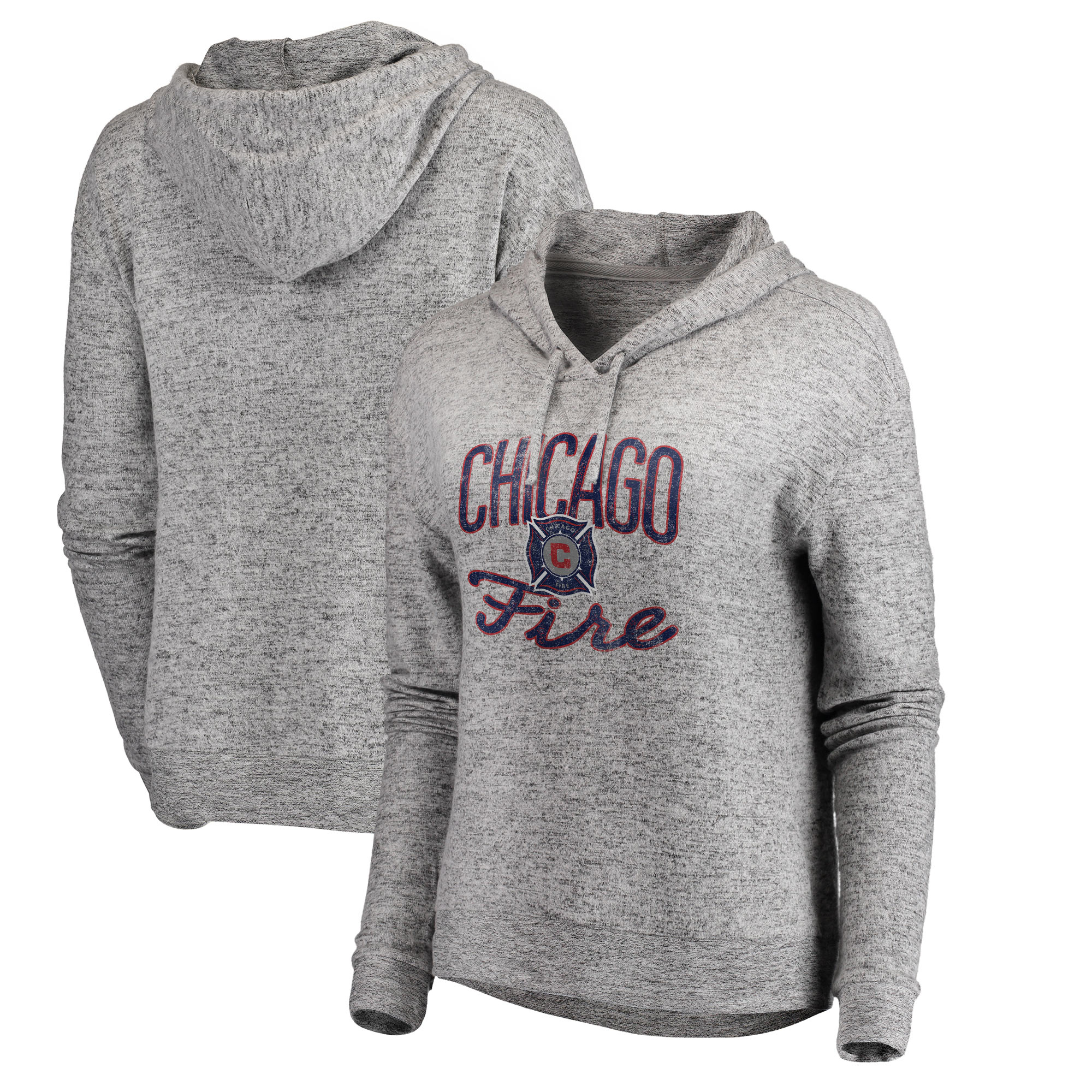 Chicago Fire Fanatics Branded Women's Cozy Collection Steadfast Fleece Tri-Blend Pullover Hoodie - Heathered Gray