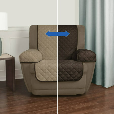 Mainstays Reversible 3 Piece Microfiber Recliner Chair Furniture Cover Protector