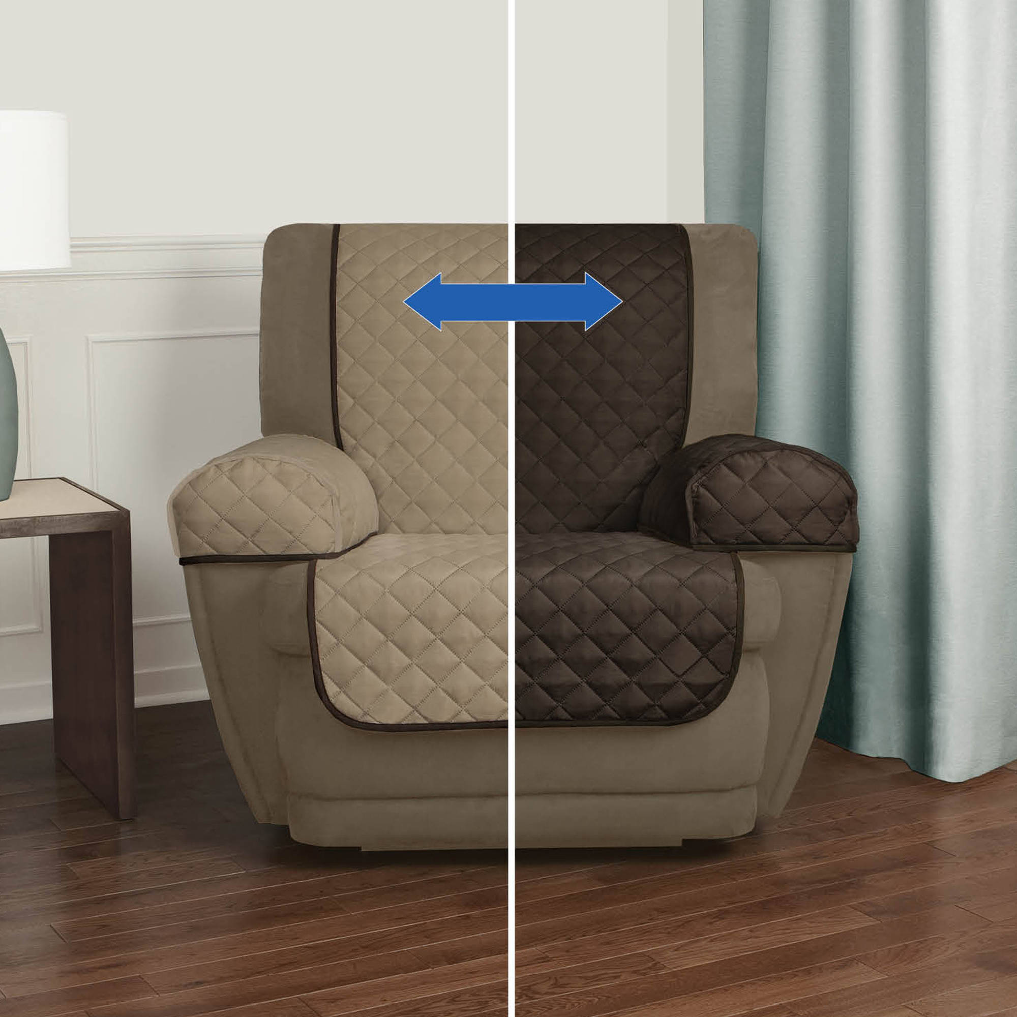 Mainstays Reversible Faux Suede to Microfiber 3 Piece Recliner Chair Furniture Cover Protector, Brown / Tan