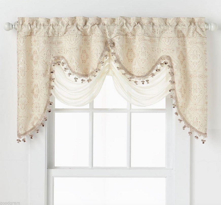ultra elegant clipped jacquard georgette fringed window valance with an attached sheer swag by goodgram