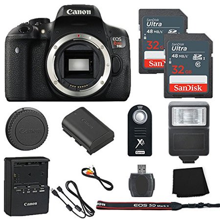 Canon EOS Rebel T6i 24.2MP Digital SLR Camera Body Only + 2 32GB Sandisk Ultra SD Cards + Slave Flash + Wireless Shutter Remote+ Memory Card Reader + Cleaning Cloth