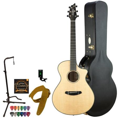 Breedlove Oregon Series Concert CE Sitka-Myrtlewood Acoustic-Electric Guitar with Deluxe Hardshell Case, Clip-On Tuner, Strap, Stand, Pick Sampler & Strings