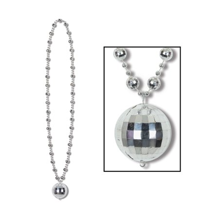 Disco Ball King Fever 70s Medallion Bead Beaded Party Necklace Costume Accessory