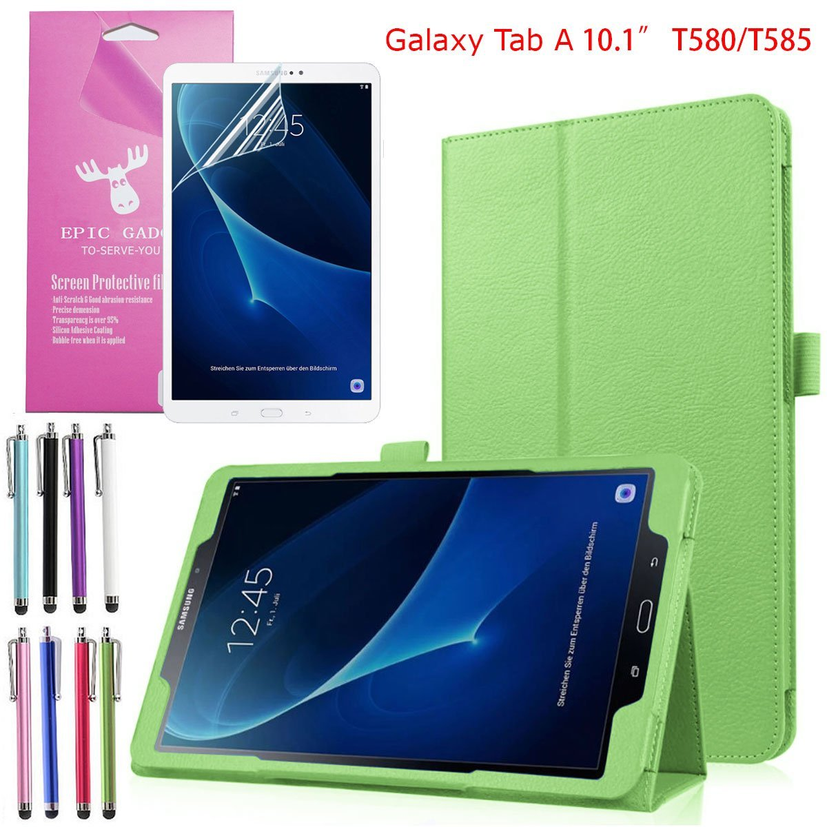 Samsung Galaxy Tab A 10.1 Tablet Folio Case (SM-T580/T585), EpicGadget(TM) Lightweight Slim Smart Cover Leather Case Stand Cover with Auto Sleep/Wake for Tab A 10.1 Tablet + Screen Protector (Green)