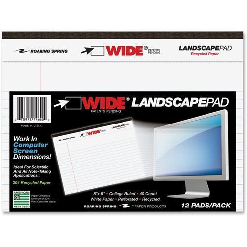 "Roaring Spring College-ruled Wide Landscape Pad - 40 Sheet - 20 Lb - College Ruled - 8"" X 6"" - 1 Each - White Paper (74600)"
