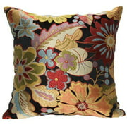 "Better Homes and Gardens Cool Botanical 18"" Knife Edge Suede Back Black Decorative Pillow"
