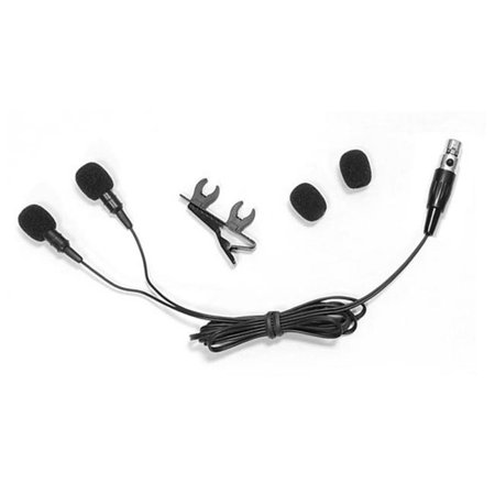 Dual Electret Condenser Cardioid Lavalier Microphone W Windscreens & Clip For Shure system