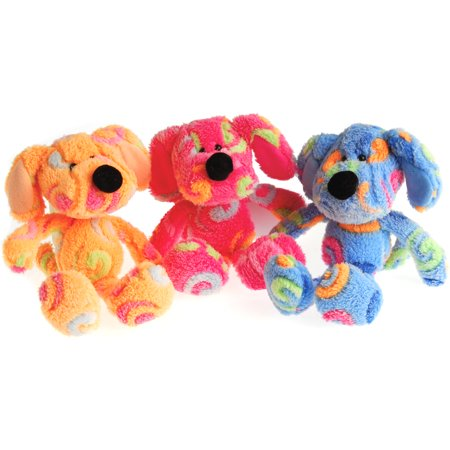 US Toy Super Soft Fuzzy Rainbow Swirl Dog 9