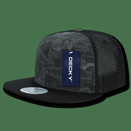 DECKY Army Camouflage Flat Bill Trucker Snapback Hats Hat Caps Cap Snapback For Men Women BLK/NTG/BLK
