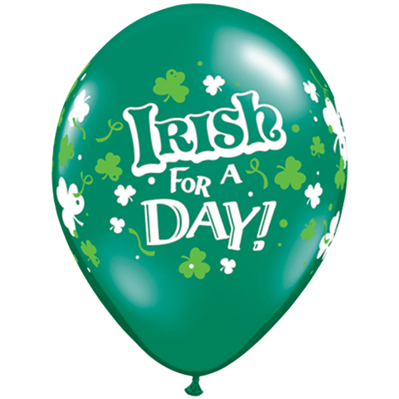 Qualatex St. Patrick's Irish For A Day Shamrock 6 Pack Latex Balloons, Green