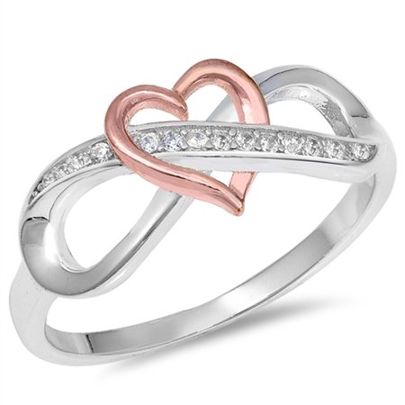 - CHOOSE YOUR COLOR Infinity Knot Rose Gold-Tone Heart Ring New .925 Sterling Silver Band (null/Ring Size 9)