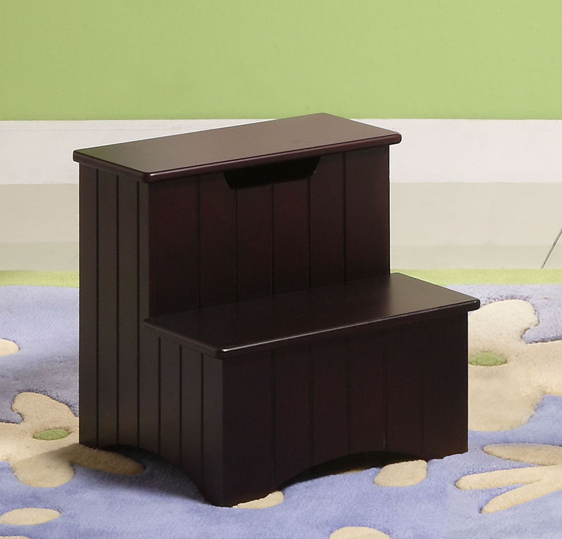 Mara Merlot Wood Contemporary 13 x 13 Inch Bedroom Storage Step Stool Organizer