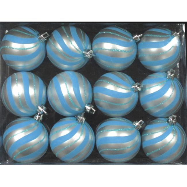 Queens of Christmas WL-ORN-12PK-SPL-AQ Aqua Ball Ornament with Aqua Sprial Design, Pack of 12