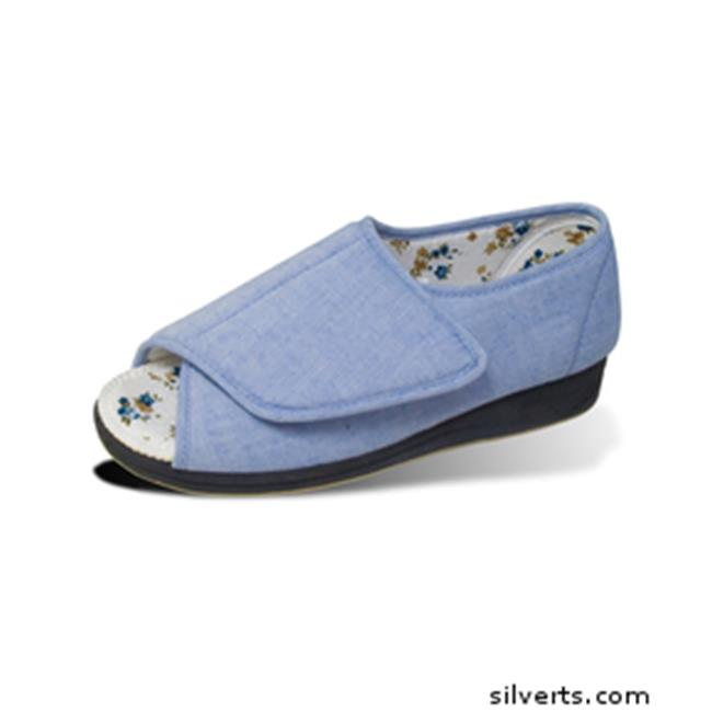 Silverts 101800204 Womens Open Toed Indoor Outdoor Sandal Shoes With Fasteners - Wide Width - 9, Denim