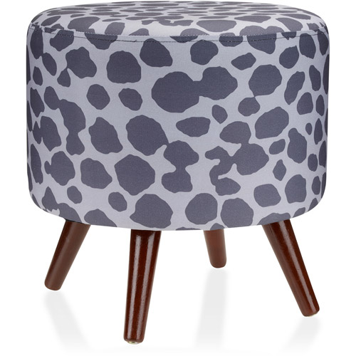 Mainstays Fashion Round Footstool Ottoman, Leopard