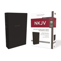 NKJV, Deluxe Reference Bible, Super Giant Print, Imitation Leather, Black, Red Letter Edition, Comfort Print (Hardcover)