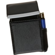 Genuine Leather Cigarette Case Holder with Lighter Pocket 92812 (C) Black