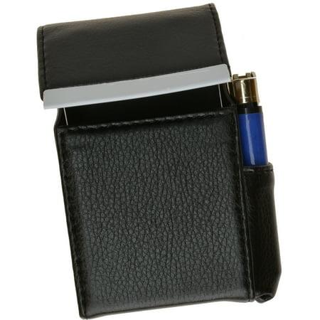Genuine Leather Cigarette Case Holder with Lighter Pocket 92812 (C) Black Novelty Cigarette Lighter