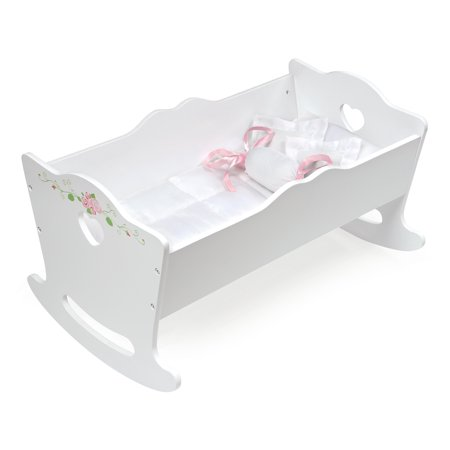 Badger Basket Doll Cradle with Bedding - White Rose - Fits Most 18