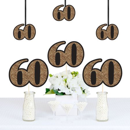 Adult 60th Birthday - Gold - Decorations DIY Party Essentials - Set of 20 (60th Birthday Decorations Cheap)