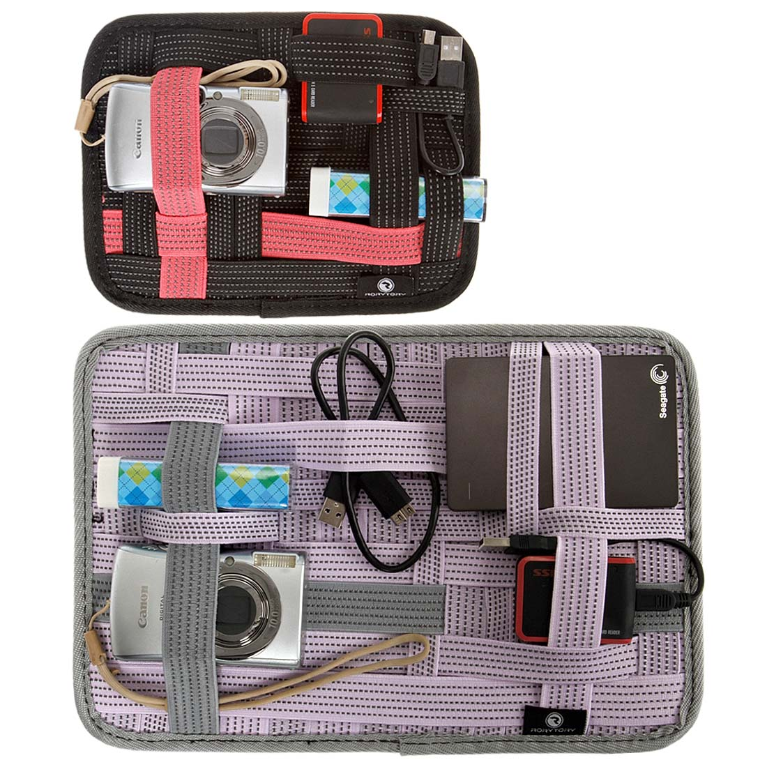 RoryTory 2 pc Black and Purple Mixed Size Elastic Band Slim Grid Organizer