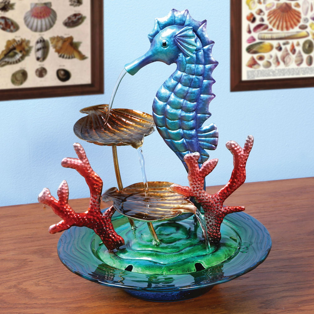Decorative Glass And Metal Seahorse Indoor Water Fountain by