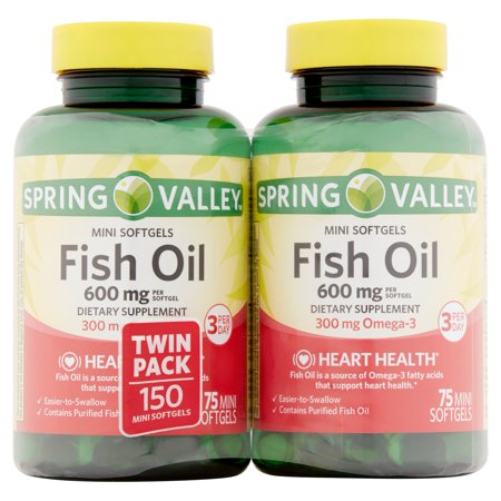 Spring valley fish oil mini softgels 600 mg 75 ct 2 pk for Spring valley fish oil review