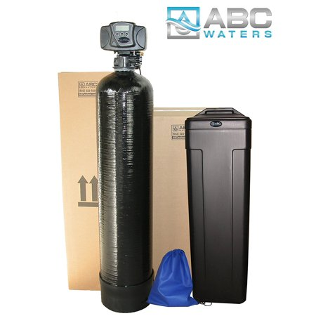 ABCwaters Built Fleck 5600sxt 48,000 Black SPACE SAVER Water Softener w/UPGRADED 10% Resin + Hardness Test + Install