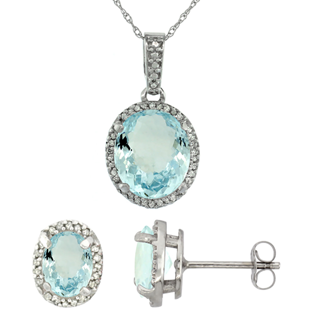 10K White Gold Natural Oval Aquamarine Earrings & Pendant Set Diamond Accents by WorldJewels