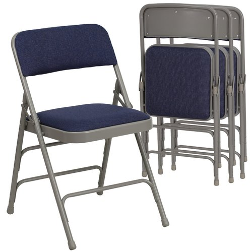 Hercules Hinged Fabric Padded Folding Chair - 4-Pack, Navy Blue