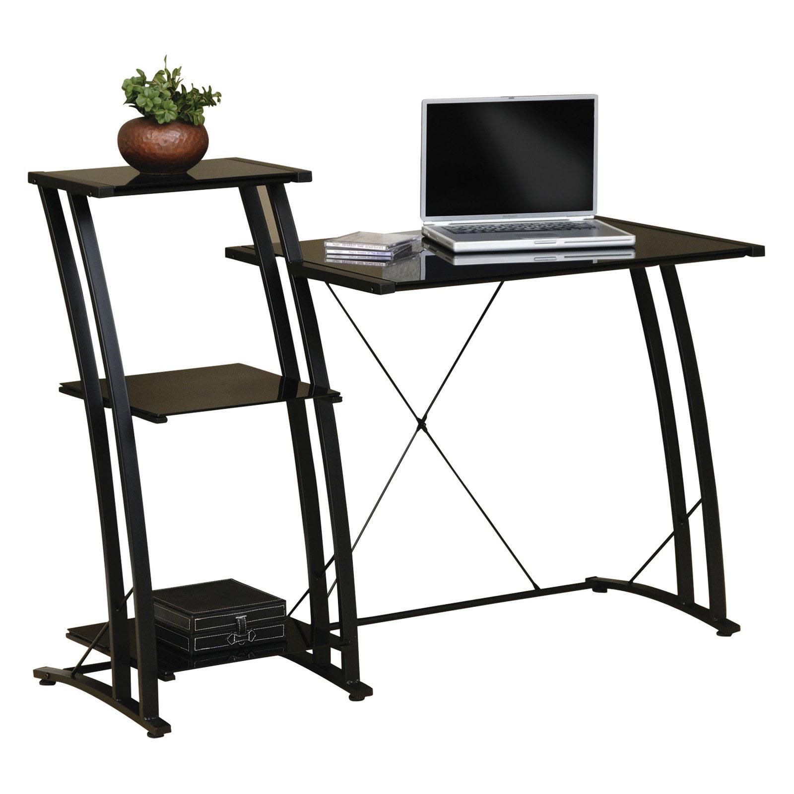 Sauder Deco Tiered Desk Black Finish Walmart Com