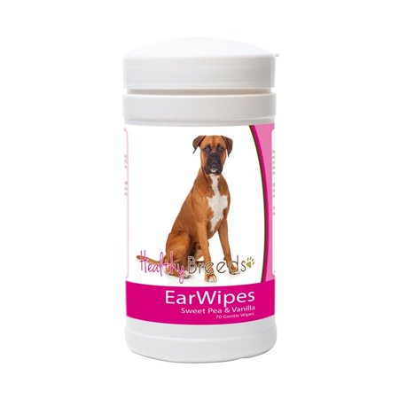 healthy breeds dog ear cleansing wipes for boxer - over 80 breeds  removes dirt, wax, yeast  70 count  easier than drops, wash, solutions  helps prevent infections and (Ear Medicine For Dogs With Yeast Infection)