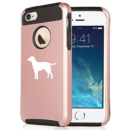 For Apple iPhone 5 5s Rose Gold Shockproof Impact Hard Soft Case Cover Lab Labrador Retriever (Rose Gold-Black)