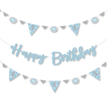 ONEderland - Holiday Snowflake Winter Wonderland Birthday Party Letter Banner Decoration - 36 Banner Cutouts