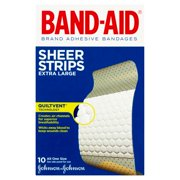 Johnson & Johnson Band-Aid Sheer Strips Extra Large Bandages, 10 count