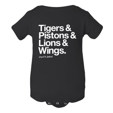 Baby Jumpsuit Tigers Pistons Lions Red Wings Loyal Sports Ball Fan Soft HQ 1-PC Onsie Creeper