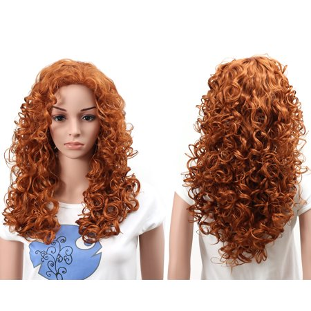 Onedor Natural Curly Wavy Full Head Cosplay Wig (130A-Fox Red)