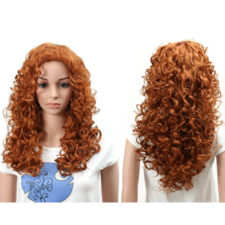 Onedor Natural Curly Wavy Full Head Cosplay Wig (130A-Fox Red) - Hot Pink Curly Wig