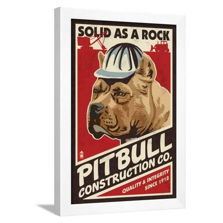 Pitbull - Retro Construction Company Ad Framed Print Wall Art By Lantern (Vintage Frame Company)