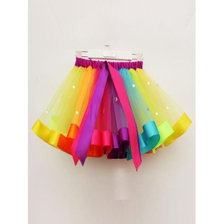 Womail Girls Kids Tutu Tulle Party Dance Ballet Toddler Rainbow Baby Costume Skirt