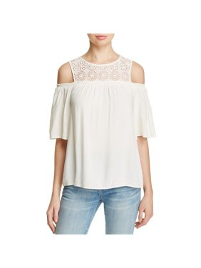 925965620a0807 Product Image Ella Moss Womens Lace Cold Shoulder Casual Top