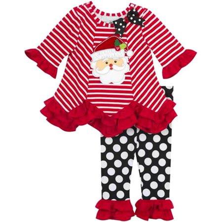 Rare Editions Toddler Santa Christmas Dot Legging Set 2T ()
