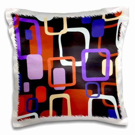 Oolong Orange Blossom (3dRose Retro Squares n Oblong In Purple n Orange, Pillow Case, 16 by 16-inch)