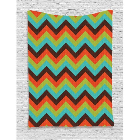 Chevron Decor Wall Hanging Tapestry Vintage Zigzag Chevron Pattern