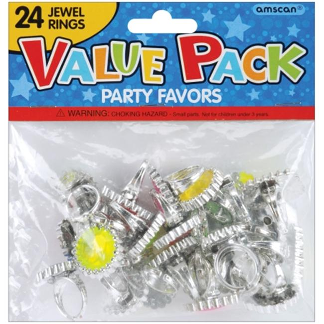 AMSCAN 159881 Party Favors 18-Pkg-Jewel Rings