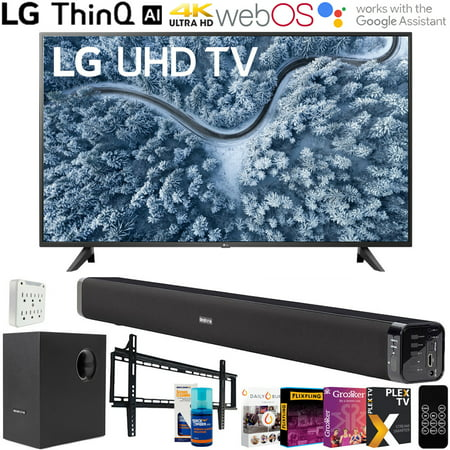 LG 65 Inch UP7000 Series 4K LED UHD Smart webOS TV (2021 Model) with Deco Gear Soundbar and Subwoofer Bundle Plus Complete Mounting and Streaming Kit (65UP7000PUA)
